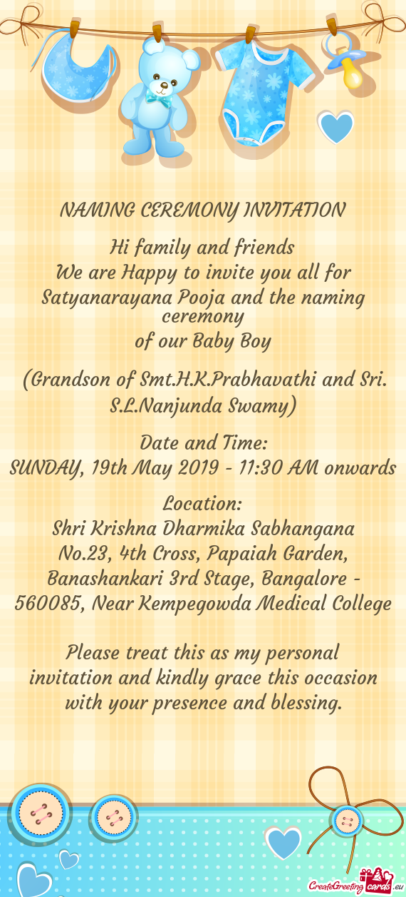 We Are Happy To Invite You All For Satyanarayana Pooja And