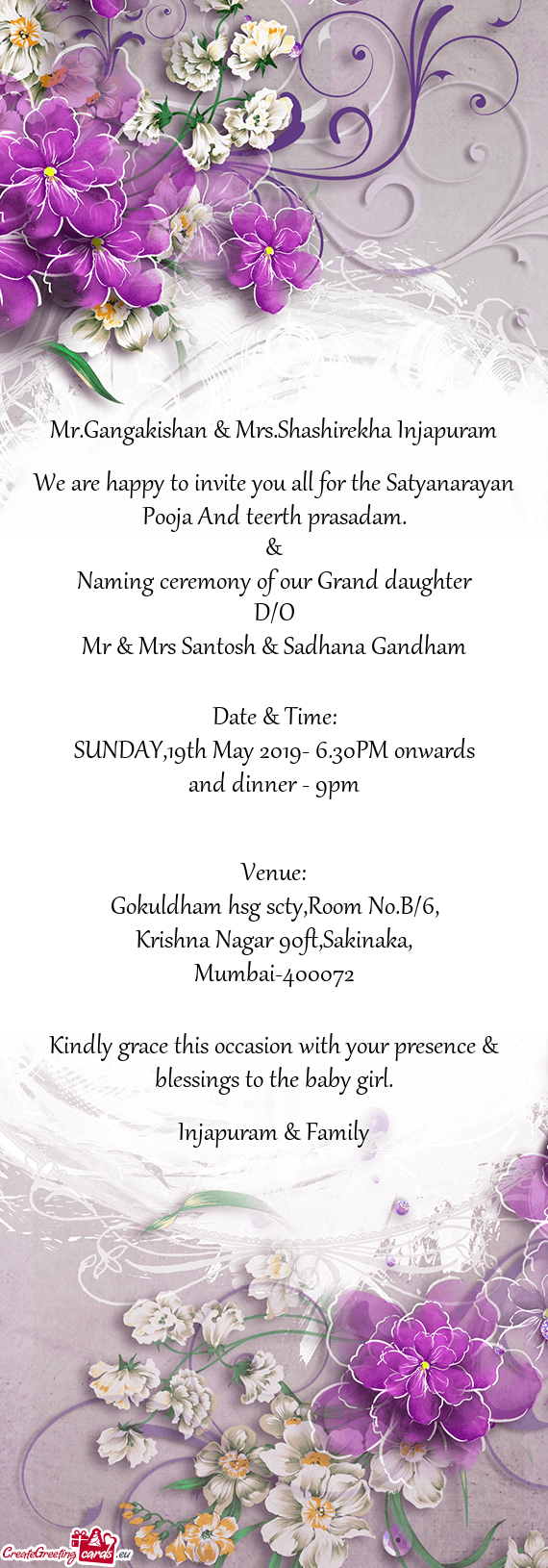 We Are Happy To Invite You All For The Satyanarayan Pooja