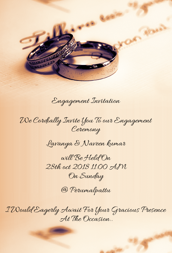 We Cordially Invite You To Our Engagement Ceremony Free Cards