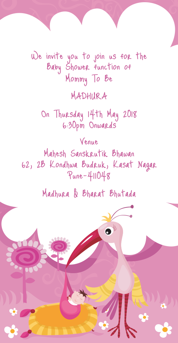 We Invite You To Join Us For The Baby Shower Function Of Free Cards