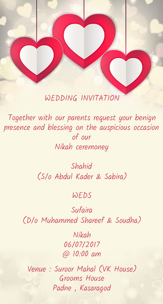 WEDDING INVITATION Together with our parents request Free cards – Nikah Invitation Cards