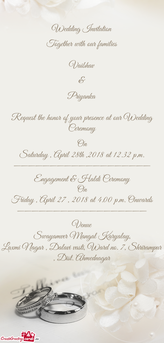 Wedding Invitation Together with our families Free cards