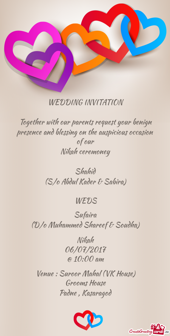 WEDDING INVITATION Together With Our Parents Request Your Benign