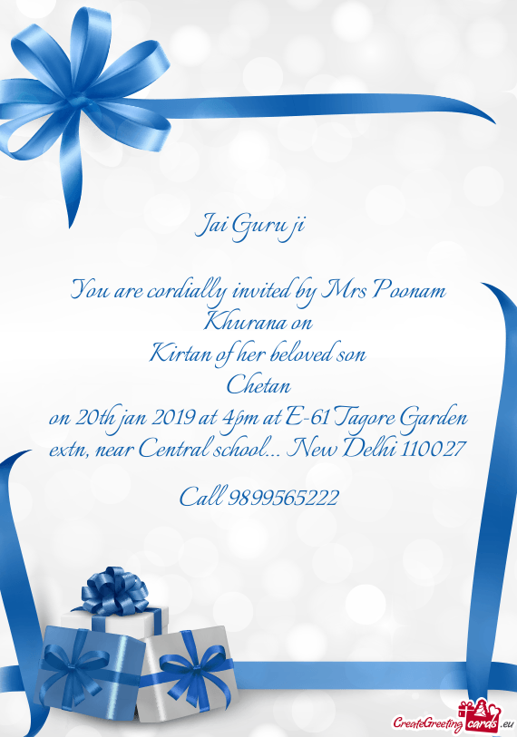 You are cordially invited by Mrs Poonam Khurana on